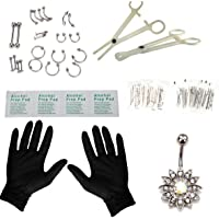 Piercing Kit 41Pcs Professional Nose Piercing Set Stainless Steel 14G 16G Nose Ring Studs Nose Belly Brow for Body…