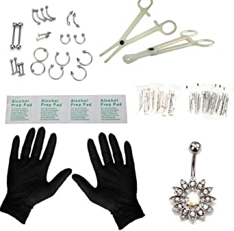 Piercing Kit 41Pcs Professional Nose Piercing Set Stainless Steel 14G 16G Nose Ring Studs Nose Belly Brow for Body Piercing Kit Jewelry Set (Sliver Color)
