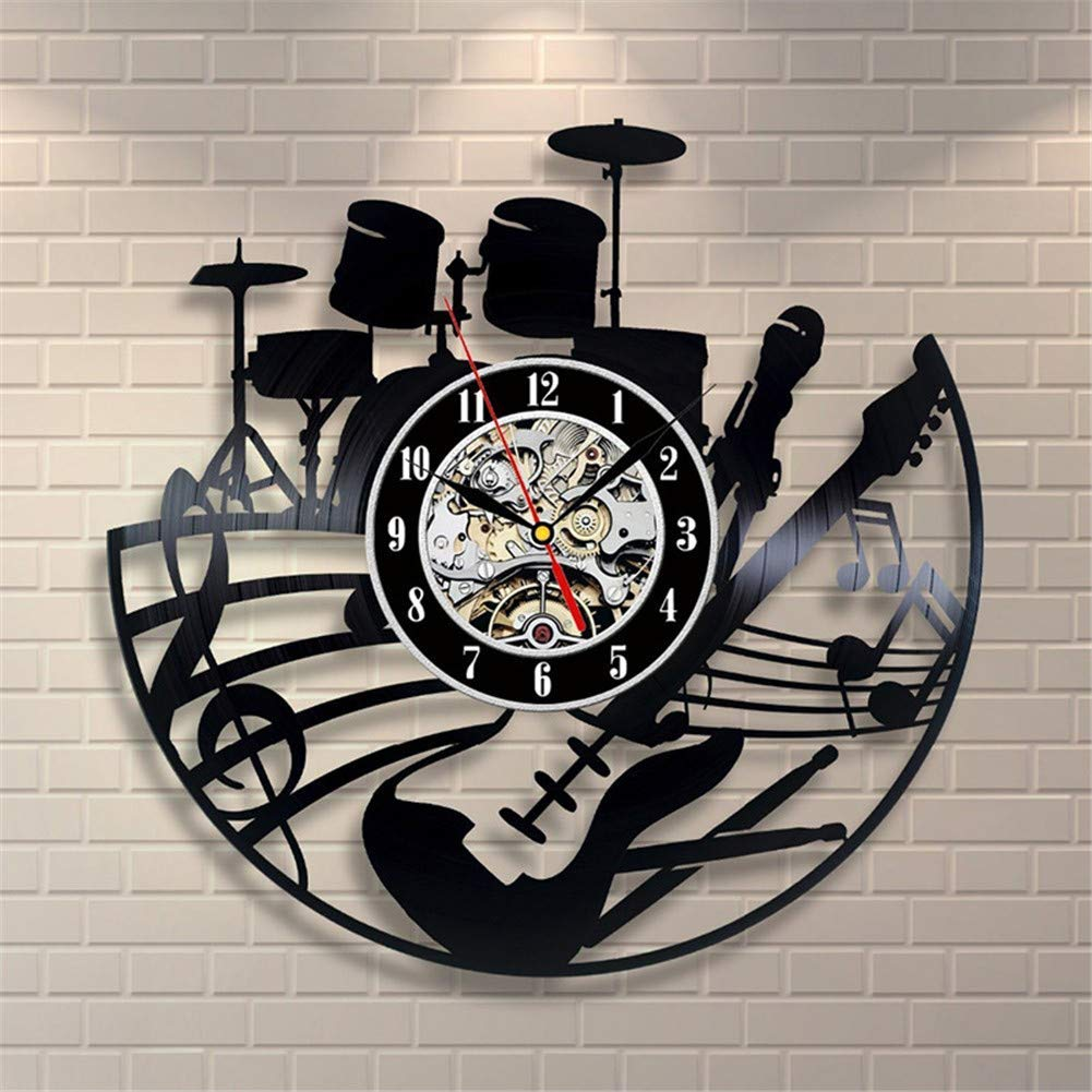how to make er diagram amazing s musician record online home decorating services Amazon.com: Guitar and Drums Vinyl Record Wall Clock - Contemporary Music  Fan Art Design - Get Unique Living Room Wall Decor - Gift Ideas for HIs and  Her: ...