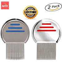 Nitiy - Professional Lice Comb, Nit Free Terminator, Professional Stainless Steel Louse and Nit Comb for Head Lice Treatment, Removes Nits and Tiny lice Eggs (2 Pack)
