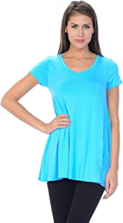 product image for Jubilee Couture Women's Solid Color V-Neck Short Sleeve Flare Tee Shirt Top - Made in USA (Small,Aqua)