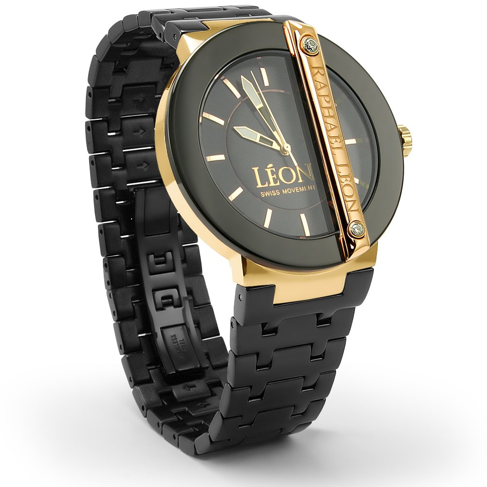 Amazon.com: Raphael Leon CLASSIC II Black Ion Over Stainless Steel Swiss Movement Designer Watch with MOP Dial: Prodori: Watches