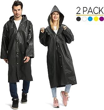 2 Pack EVA Reusable Rain Coats Poncho with Hood for Adult Kids