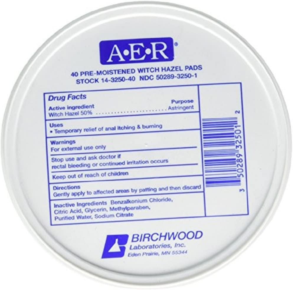BIRCHWOOD Laboratories A-E-R Pre-Moistened Witch Hazel Pads, 160 Count (Pack of 4)