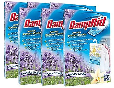 DampRid FG80LV Lavender Vanilla Hanging Moisture Absorber (Pack Of 6) (Dehumidifier Moisture Elimination)