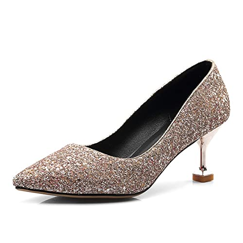 1e969749c240 Btrada Women s Sexy Pointed Pumps High Heel Sequins Sandals Closed Toe  Ladies Dress Stiletto Wedding Shoes