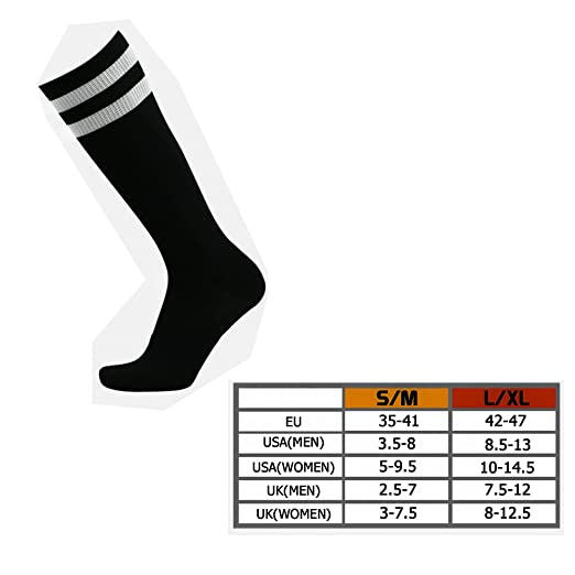 5ee8e02e4d9 Amazon.com  Unisex High Knee Double Stripe Compression Socks Over ...