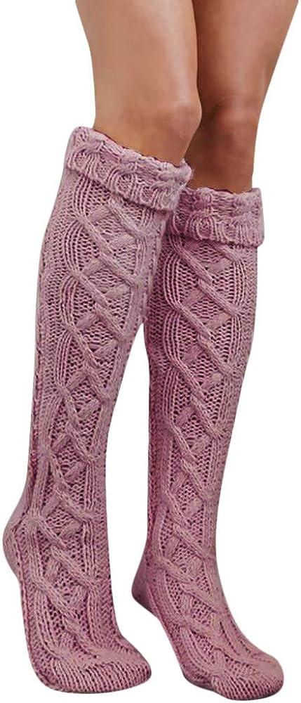 Calcetines Altos Mujer Hasta la Rodilla Calcetines Navidad de Punto Invierno con Cordones Aprieta Calcetines Gruesos Larga Niña Estudiante Termicos Ideal para Regalo Yvelands