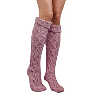 c149e5e00ad Quelife Women Christmas Warm Thigh High Long Stockings Knit Over Knee  Woolen Socks (Pink 12