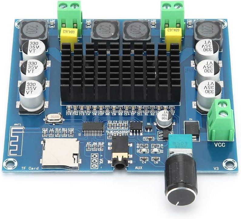 ASHATA Bluetooth Power Amplifier,A105 TDA7498 100Wx2 Digital Bluetooth Adjustable Volume Audio Power Amplifier Board,Digital Amplifier Board Support Memory Card//Bluetooth//AUX