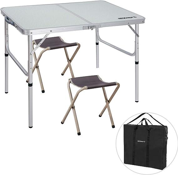 REDCAMP Juego de Mesa y sillas Plegables de Aluminio, 3 pies, Altura Ajustable, Ligero, portátil, Mesa de Camping para Picnic al Aire Libre Interior (Blanco con 2 taburetes): Amazon.es: Hogar