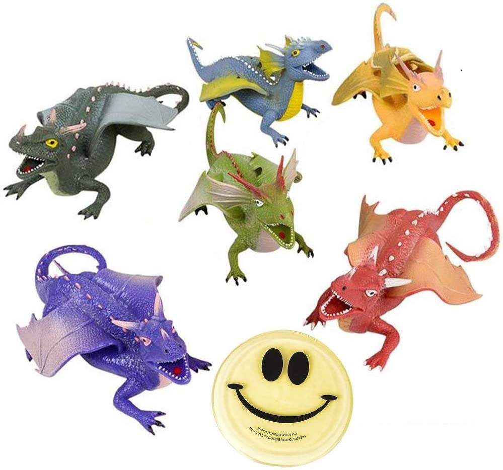 Dragon Toy Figures Squish and Stretch 9 Inch -3 Pack ofAssorted Dragon Toys and 1 Vortex Eraser - Party Favors, Party Decor, Stocking Stuffers, Good Bags, Prizes