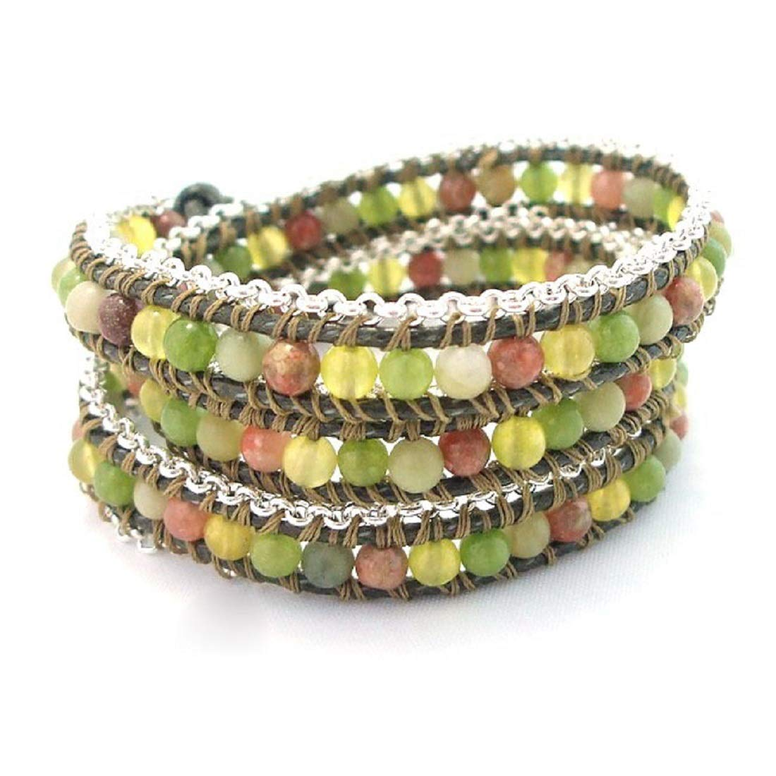 AeraVida Green Leather Mix Stones Chain Link Triple Wrap Bracelet