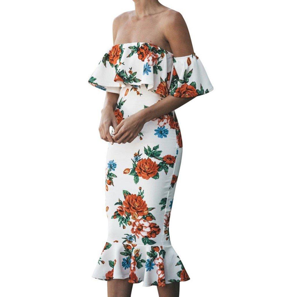 Creazrise Women's Strapless Fishtail Dress,Ladies Flower Print Ruffles Flar Sleeve Dress (White, S)