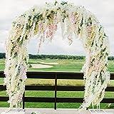 3.6 Feet Artificial Wisteria Vine Ratta Silk Hanging Flower for Wedding Decor,Garden,DIY Living Room,12 Pieces (White)