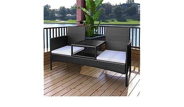 Lingjiushopping Banco de 2 plazas con mesita de Poli Ratan Negro Material: Ratan PE + Estructura de Acero con Revestimiento en Polvo: Amazon.es: Jardín