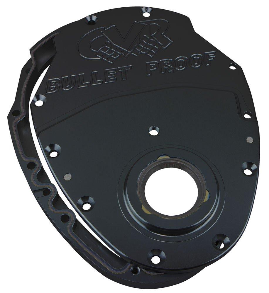 Black Anodized CVR SBC Billet Timing Cover 2-Piece