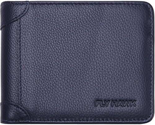 FlyHawk Best RFID Blocking Top Genuine Leather Wallets for Mens