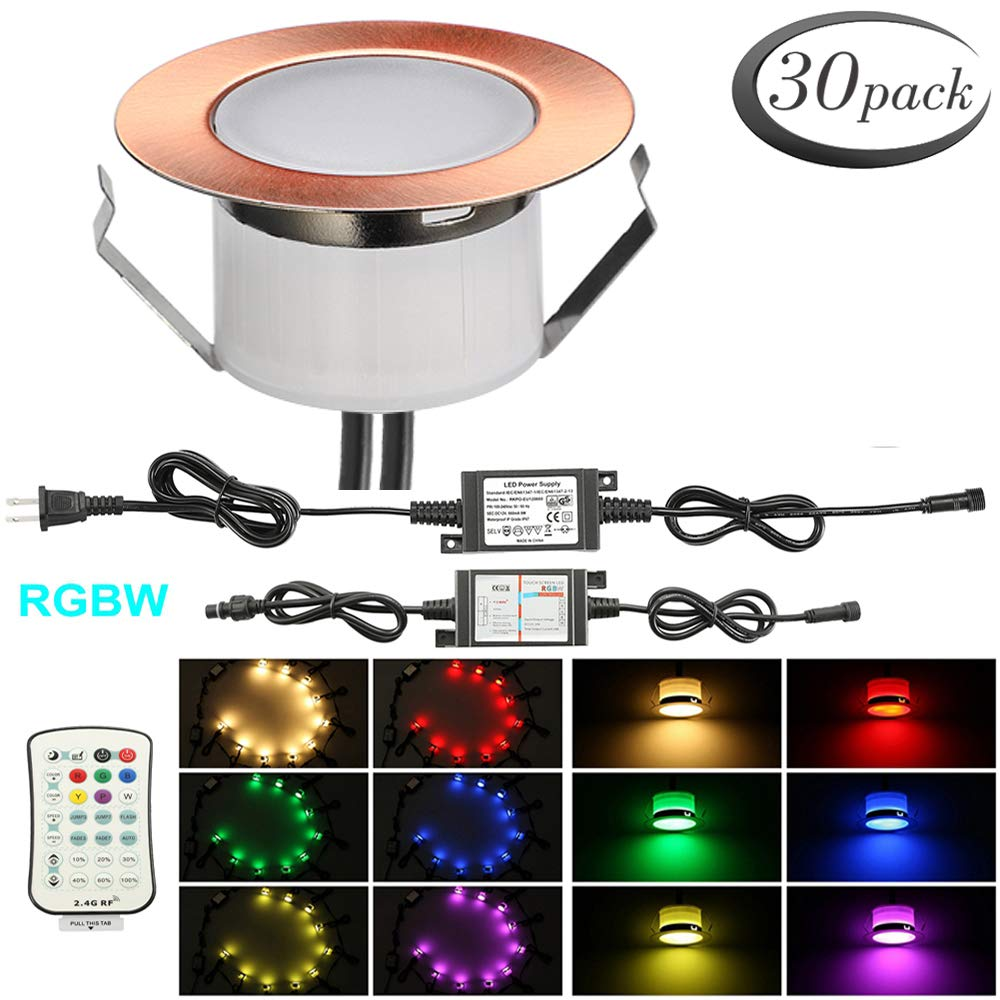 LED RGBW Deck Lights Kit, FVTLED 30pcs Muticolor & Warm White Low Voltage Waterproof Φ1.85'' Recessed RGBW In-ground Lighting Garden Yard Soffit Patio Stair Decor Lamp, Red Bronze