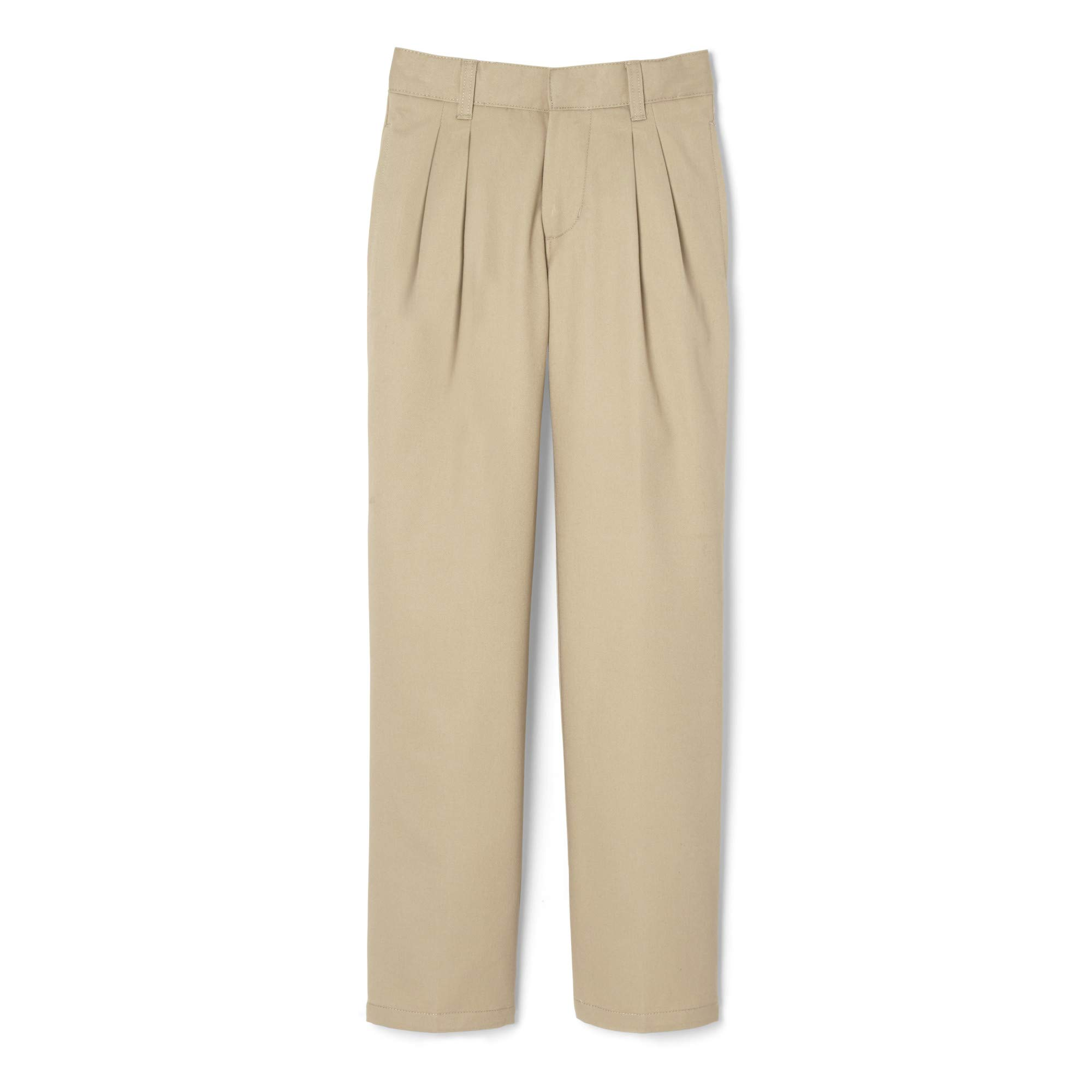 French Toast Big Boys' Pleated Double Knee Pant with Adjustable Waist, Khaki, 8 by French Toast
