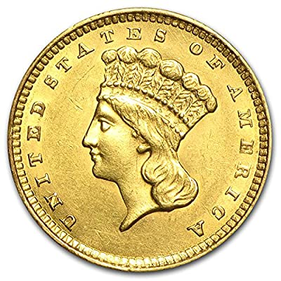 1854 - 1856 $1 Indian Head Gold Type 3 AU (Random Year) G$1 About Uncirculated