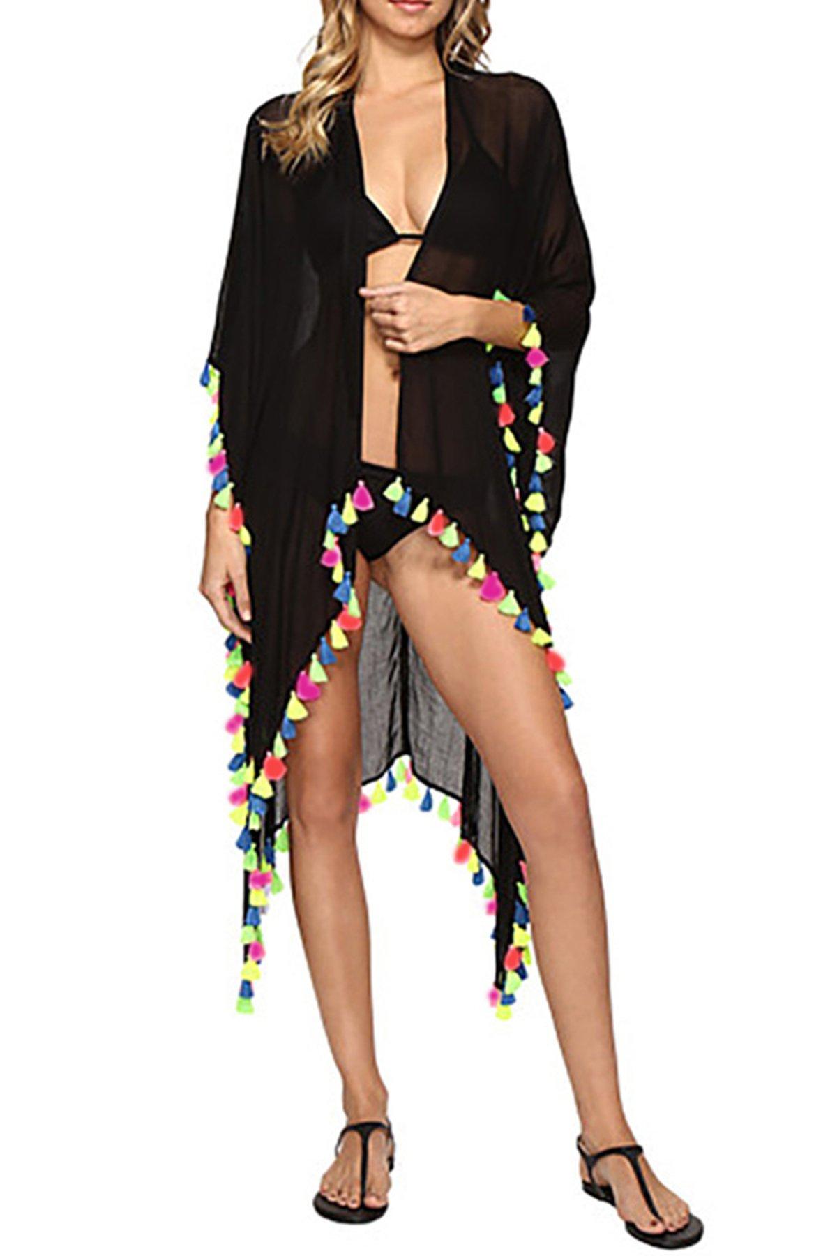 JOXJOZ Women's Chiffon Tassels Summer Beach Cardigan Swimsuit Cover-Ups Swimwear Beachwear (Black)