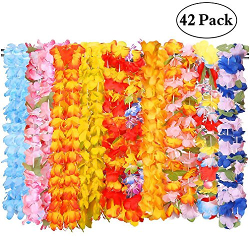 Moon Boat 42Ct Tropical Hawaiian Luau Leis Necklaces Bulk- Tiki Flowers/Summer Pool Party Supplies Decorations Favors (Party Pool)
