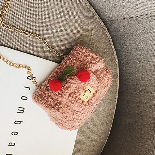 Colore Clip Di Mini Pure Bag Della Ragazze Crossbody Rosa Uokoki Messenger I Delle Borsa Peluche Bambini Shoudler HqxPvBYx