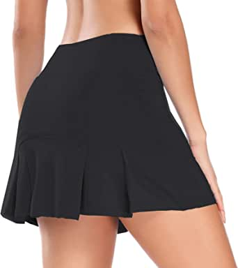 Women Pleated Active Athletic Skorts with Hidden Pocket Tennis Golf Fitness Skirts Built in Shorts