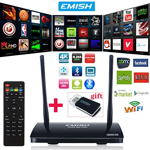 EMISH Android TV Box, 2016 Smart TV Box 4K Rockchip 3368 Octa-Core 64bits ARM Coretex A53 CPU KODI 1 GB SDRAM / 8G EMMC, Wifi, Bluetooth, Mit HD Musik, Film, Streaming Media Player
