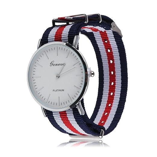 Geneva - Reloj correa de nylon rayas azul rojo blanco: Amazon.es: Relojes