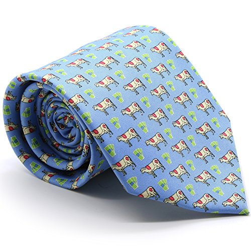 Cow Tie (Light Blue Cow Necktie with Handkerchief Set)