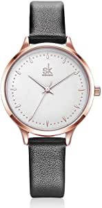 SHENGKE Watches Leather Watch Ladies Band analog Quartz Student Girl Wristwatch Female Gift SK8033