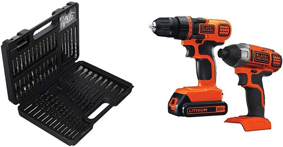 BLACK+DECKER BDA91109 Combination Accessory Set, 109-Piece with Black & Decker 20V MAX Drill/Driver Impact Combo Kit