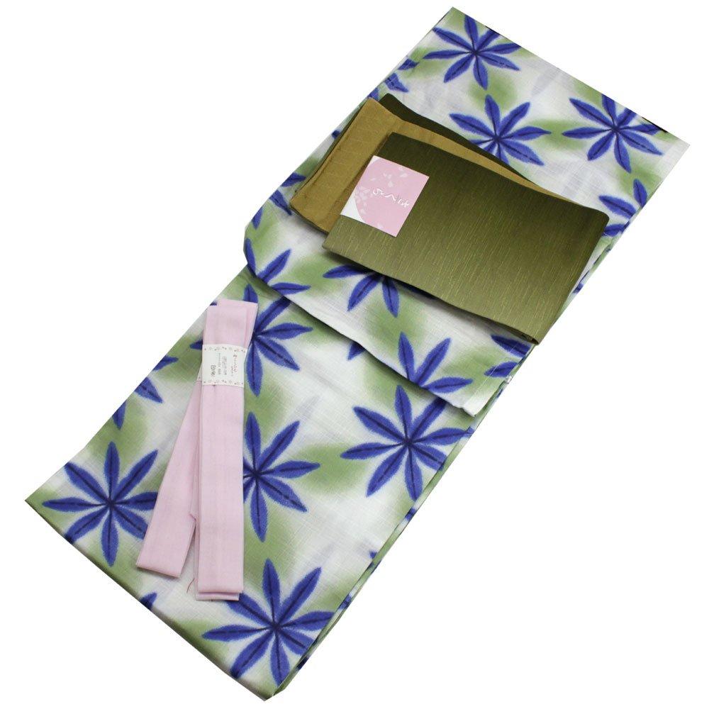 Womens Cotton Yukata 3items set Japanese Summer Kimono Snowflakes M size