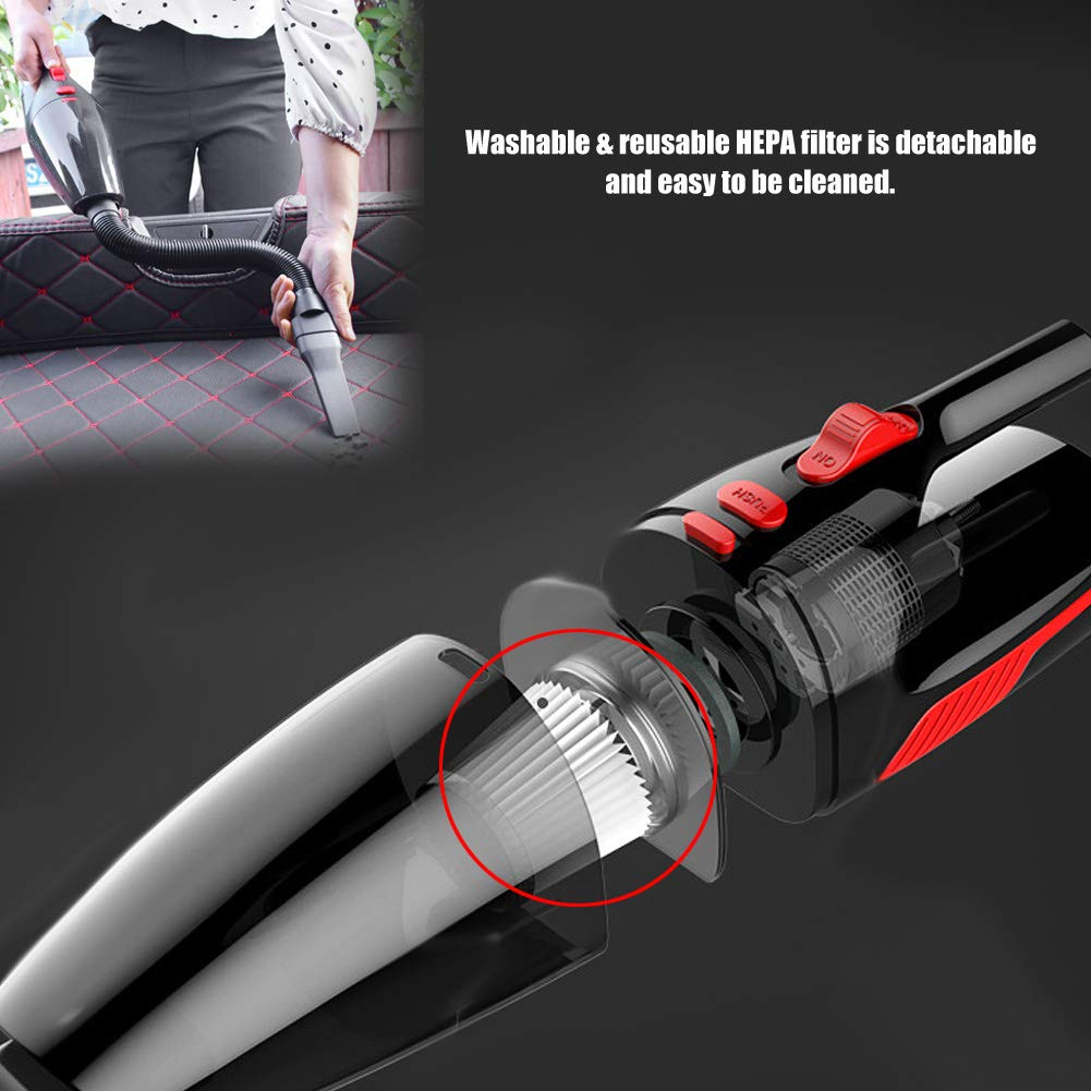 KIMISS DC12V 120W Aspirador port/átil h/úmedo del Coche Colector de Polvo de Estilo seco h/úmedo con luz /& Cable