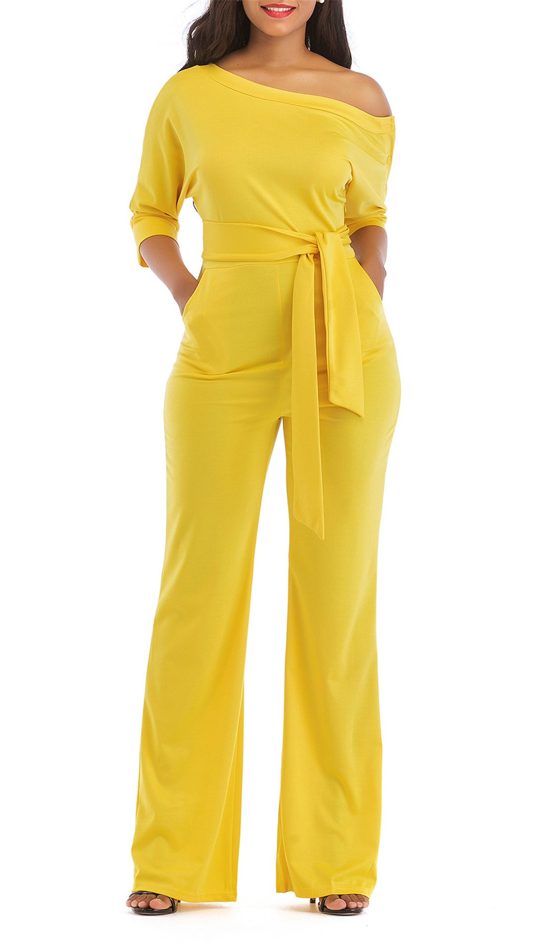 ONLYSHE Women's Elegant Stylish One Shoulder Style Full Length Solid Color Jumpsuit Yellow Medium