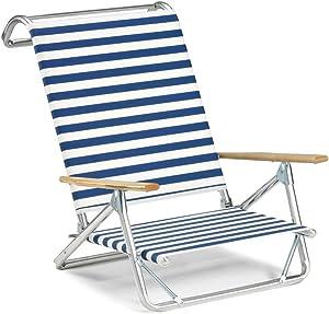 Telescope Casual Original Mini-Sun Chaise Folding Beach Arm Chair, Blue/White Stripe-(74113601)