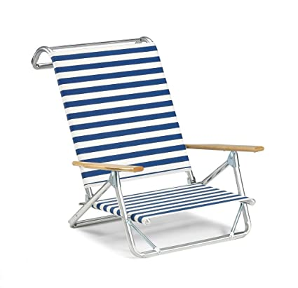 Telescope Casual Original Mini Sun Chaise Folding Beach Arm Chair,  Blue/White Stripe