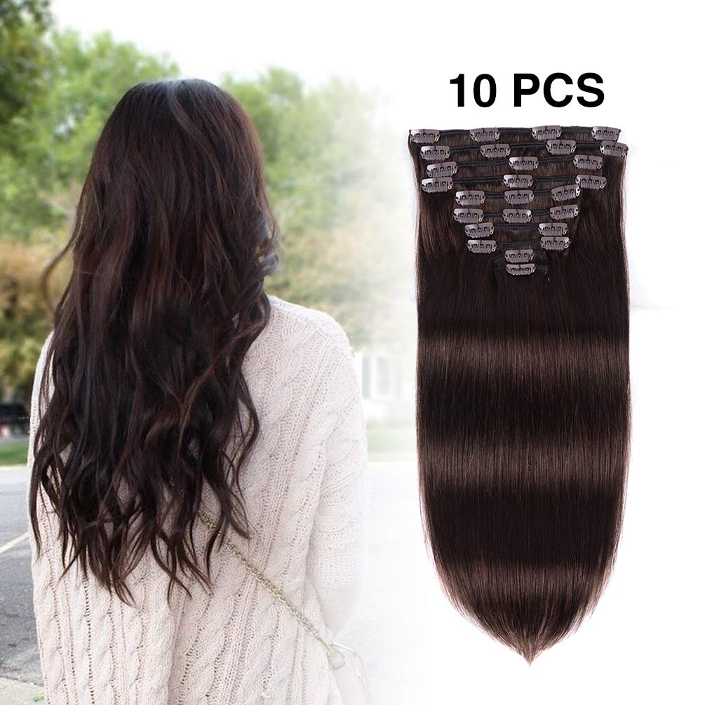 "Real Clip in Hair Extensions Human Hair 16 inches Dark Brown #2 Color 10Pieces 100g Double Weft Soft Thick Straight Full Head Remy Human Hair Extension for Women (16""-100g, Dark Brown #2) AMYGIRL"
