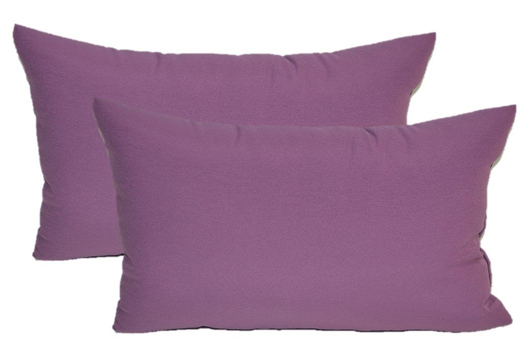 Set of 2 - Indoor / Outdoor Jumbo, Large, Over–sized, Rectangle / Lumbar Chaise Lounge Decorative Throw / Toss Pillows - Solid Lavender / Lilac Purple Fabric