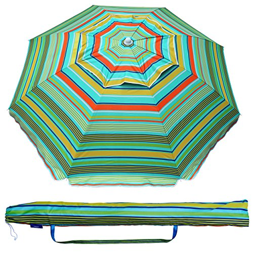 AMMSUN 6.5 Ft Outdoor Patio Beach Umbrella Sun Shelter with Tilt Air Vent and Carry Bag UPF 50+ Multicolor Green