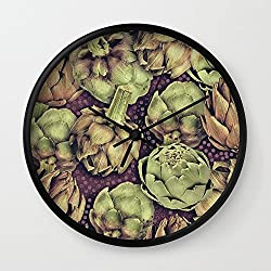 Society6 Artichokes Wall Clock Black Frame, Black Hands