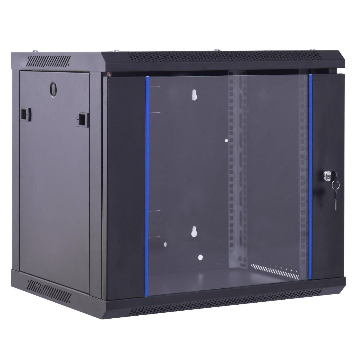 Safstar Wall Mount IT Network Server Cabinet Enclosure Data Devices Rack (9U, Tempered Glass Type)