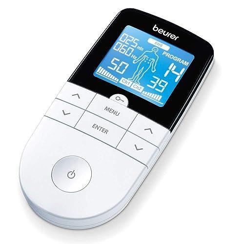 Beurer EM49 Electroestimulador digital para aliviar el dolor muscular y el fortalecimiento muscular masaje EMS TENS pantalla LCD azul 2 Canales 4 electrodos autoadhesivos color blanco