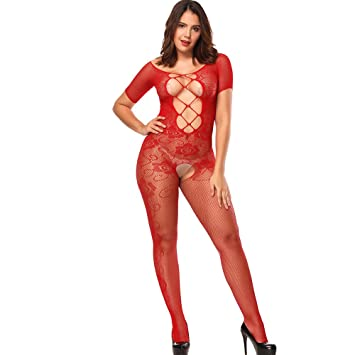 d803ed58a92bf9 Amazon.com: Sexy Womens Fashion Fishnet Bodystocking Crotchless ...