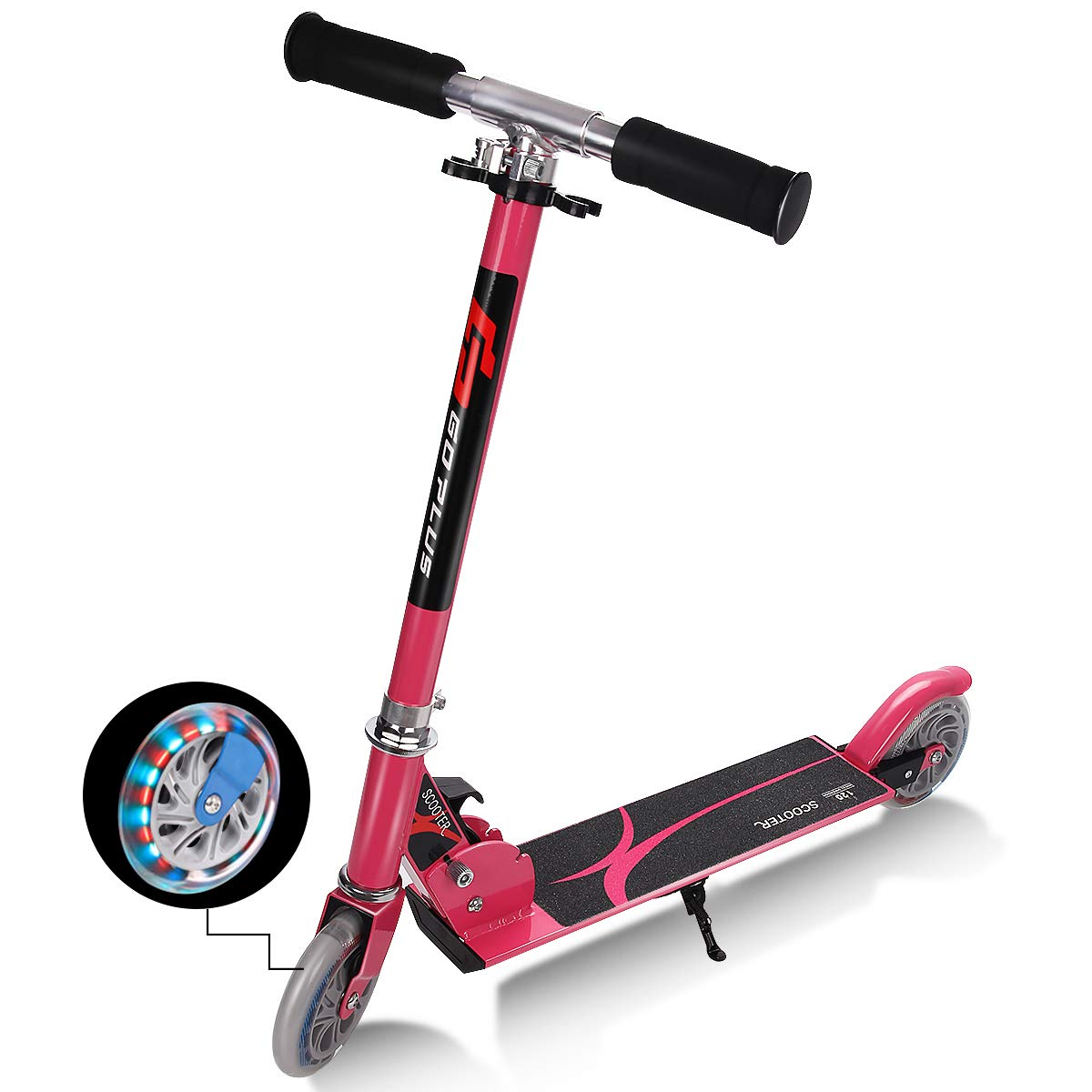 Goplus Folding Kick Scooter for Kids Deluxe Aluminum 2 Wheels Glider Adjustable Height with LED Light Up Rear Wheel for Girls and Boys (Pink) by Goplus