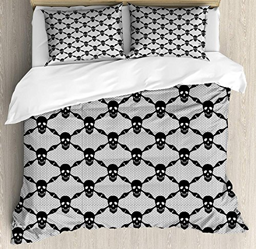 (Gothic 4 Piece Bedding Set Duvet Cover Set Twin Size, Halloween Horror Theme Spooky Black Skulls Checkered Pattern with Skeleton Bones, Luxury Bed Sheet for Childrens/Kids/Teens/Adults, Black White)