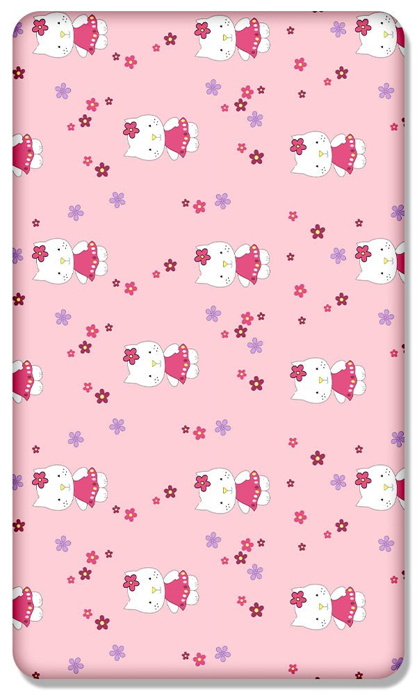 Hello kitty 100/% COTTON FITTED SHEET WITH PRINTED DESIGN FOR BABY JUNIOR BED 160x80CM