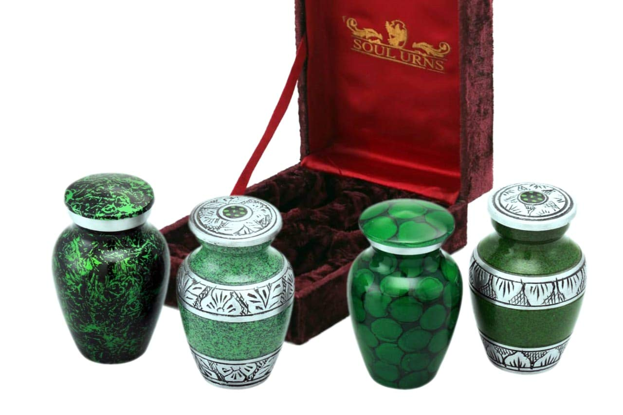Funeral Keepsake Urns by SoulUrns - Shades of Green Small Mini Keepsake Urn for Human Ashes - Set of 4 - Share Your Love with These High Quality Keepsake Urns - Include Velvet Case & Velvet Pouches